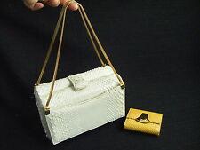 GRETA ORG. Vtg 60s White Snakeskin Evening Box Bag & Yellow Coin Wallet
