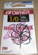 5177-111 Owner size 1/0 Black Chrome Mosquito Fishing Hooks qty 7