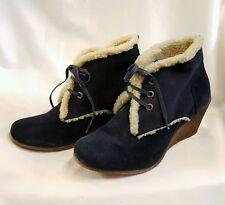 Zapatos Mujer Botas Piel CUERO Hecho Italy Azul Oscuro Gr-37 Invierno Platón