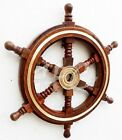 Vintage Style Brass  Wood Ship Wheel Helm Nautical Home Decor Boat Steering