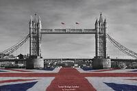 LONDON - TOWER BRIDGE POSTER - 24x36 UNION JACK ENGLAND TRAVEL CHALKIN 33944