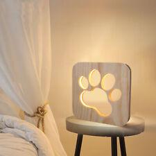 Veilleuse Lampe Lumière Chaude LED USB Patte de Chien En Bois Décor Enfant Bébé