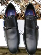 Silver Street London BOURNE Mens Leather Double Monk Strap Formal Shoes Black