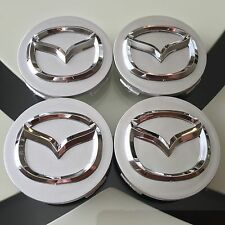 NEW MAZDA (SET OF 4) 56mm SILVER BASE CHROME LOGO WHEEL CENTER CAPS WC4PC595