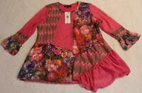 Calessa Women's Flare Sleeve Patchwork Floral Tunic TM8 Fuchsia Size XL NWT