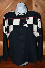 80's Roper Border Western Cowgirl Shirt Nascar Checkered Flag Red White Black