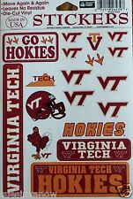 18 Stickers Virginia Tech Hokies Decals NCAA Lic. VT