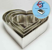 "SET OF 4-PIECE HEART SHAPE CAKE BAKING PANS BY EURO TINS 6"" 8"" 10"" 12"" (3"" DEEP)"