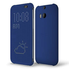 NEW HTC M100 DOT VIEW FLIP CASE COVER SHELL FOR HTC ONE M8 IN BLUE 99H11467-00