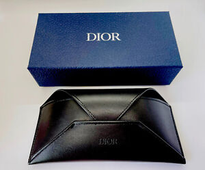 Dior Homme Sunglasses Case Blue Box Black Leather Envelope Medium Cloth Pouch