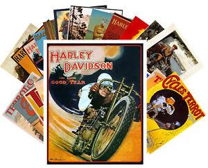 24 Postkarten Set *Harley Davidson Retro Werung Plakat Terrot Motorbikes CC1023