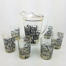 Vintage Glass Pitcher & Tumblers Winter Scene Holiday Glasses Set of 6 Mountains