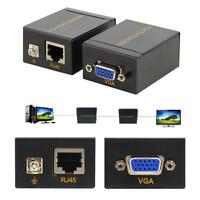 2x 60m VGA Signal Network Extender to Lan CAT6/5E RJ45 Ethernet Receiver Adapter