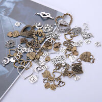 50Pcs Heart Shape Pendant Metal Antique Bead DIY Necklace Jewelry Making Love