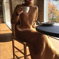 Womens Loose Long Full Length Dress Knitted Warm Turtleneck Pullover Sweater SZ