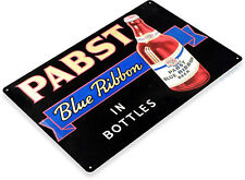 Tin Sign Pabst Blue Ribbon Bottled Beer Metal Store Pub Brew Shop Bar Pub A550