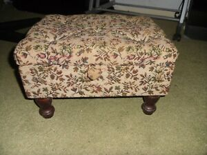 Vintage Yellow / Floral  Sewing Box/Stool/Retro Shabby Chic