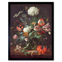 Jan Davidsz De Heem Vase Of Flowers Art Print Framed 12x16