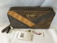 Jessica Simpson Helena Clutch Wallet Brown Vegan Leather Organizer Double Zipper