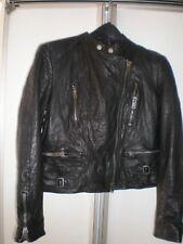 RALPH LAUREN BLUE LABEL BLACK  COW  Leather MOTO BIKER JACKET SIZE  M WOMAN