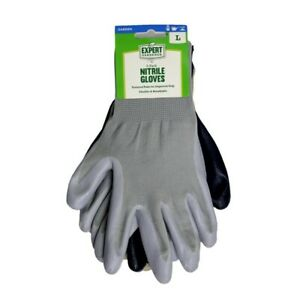 Nitrile Dipped Work Garden Gloves 3 Pack, Size Large, Anti Slip, Flexible Grip