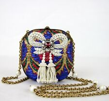 $2980 Gucci Multi-Color Brocade Pearl Bow Evening Bag w/Crystals 453575 8060