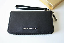 Michael Kors Large Flat Wallet Multi Function Phone Case Wristlet Black Leather