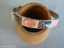 BRACELET FEMME JONC NACRE ABALONE ROSE SAUMON ACIER PINK  MOTHER OF PEARL BANGLE
