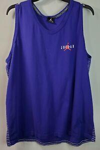 AIR JORDAN JUMPMAN Purple Tank Top SHIRT 3XL MJ Chicago Bulls NBA Striped Back