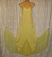 MEDIUM VINTAGE JENELLE OF CALIFORNIA YELLOW CHIFFON GLAMOUR MAXI NIGHTGOWN GOWN