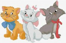"""Aristocat Kittens Counted Cross Stitch Kit Disney Films 12"""" x 8"""" Film Disney"""