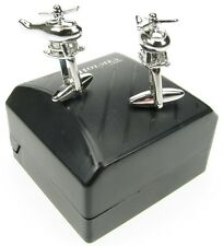 NOVELTY HELICOPTER CUFF LINKS MENS SILVER SHIRT XMAS GIFT BOX NEW FREE POSTAGE