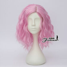Fancy 35CM Pink Medium Lolita Curly Women Party Hair Cosplay Wig Heat Resistant