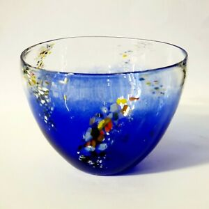Blue Glass Bowl - Hand crafted colourful glass art by Eamonn Vereker