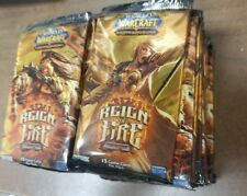 World Of Warcraft Reign Of Fire 3 pack  lot  Booster Pack WoW TCG TIGER MOUNT ?