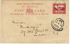 St. Helena 1900 1d postal card used to England