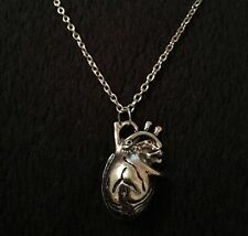 Anatomical Heart Necklace Geek Science Nerd Rockabilly Silver Gothic Steampunk