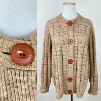 VTG 70s Space Dye Cardigan Sweater XL Earth Tone Ribbed Acrylic Knit Big Button