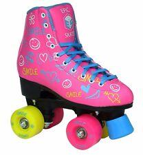 Women's Epic Blush High-Top Quad Roller Skates w/ 2 pr of Laces (Pink & Blue)