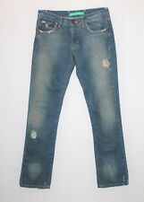 "WHITE SUEDE Designer Blue Distressed Denim Jeans Size 28"" #SJ20"