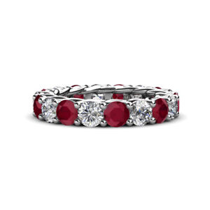 Ruby and Diamond Gallery Eternity Band 4.35 - 5.13 Carat tw in 14K Gold JP:60453