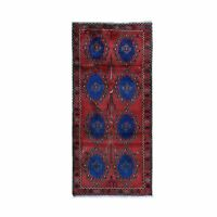 """3'8""""x8' Red Vintage Farsian Meleyir Wide Runner Hand Knotted Rug R49794"""