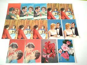 Lotto di 14 cartoline di innamorati e fiori ottime condizioni non viaggiate