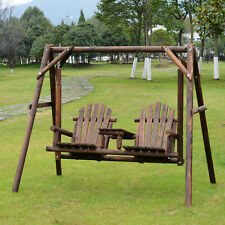 New listing Freestanding Wood Adirondack Swing Rustic Farmhouse Style with Center Table