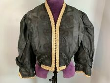Antique Victorian Short Black Jacket Silk Ecru edge lining 1860s drop shoulder