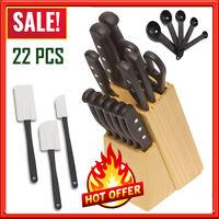 Knife Block Set Kitchen Sharpening Stainless Steel Chef Steak Wood Cutlery 22 Pc
