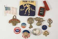 Lot 13 Vintage Antique Pins Brooches - Basketball Football Flag Girl Scout FDR +