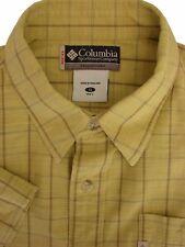 COLUMBIA Shirt Mens 16 S Light Yellow - Check SHORT SLEEVE