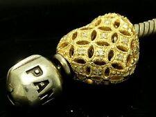 Bd065- Genuine 9K 9ct Genuine Gold NATURAL Diamond studded HEART Bead Charm