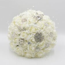 Artificial Wedding Flowers Brides Posy Bouquet in Ivory Roses with Brooches